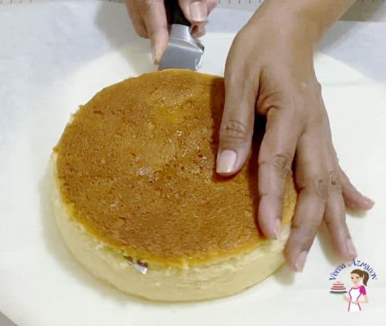 Cut the domes off any of the cake layers