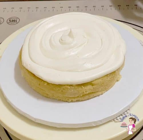 Add frosting on the cake layers