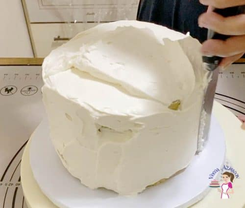 Add more frosting to the top and sides of the cake