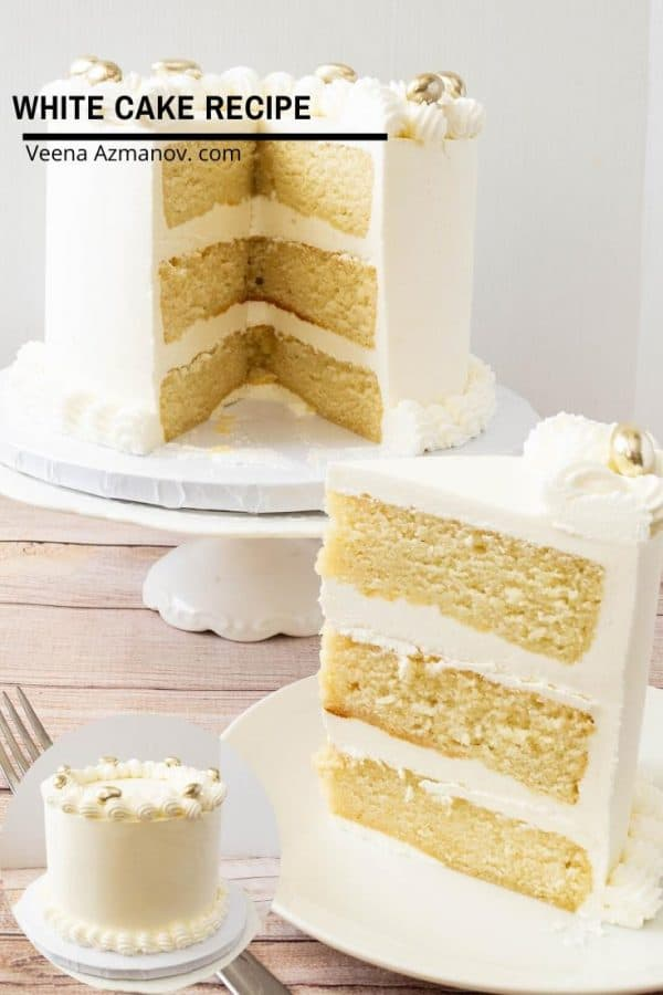 A slice of white layer cake on a plate, with the rest of the cake on a cake stand.