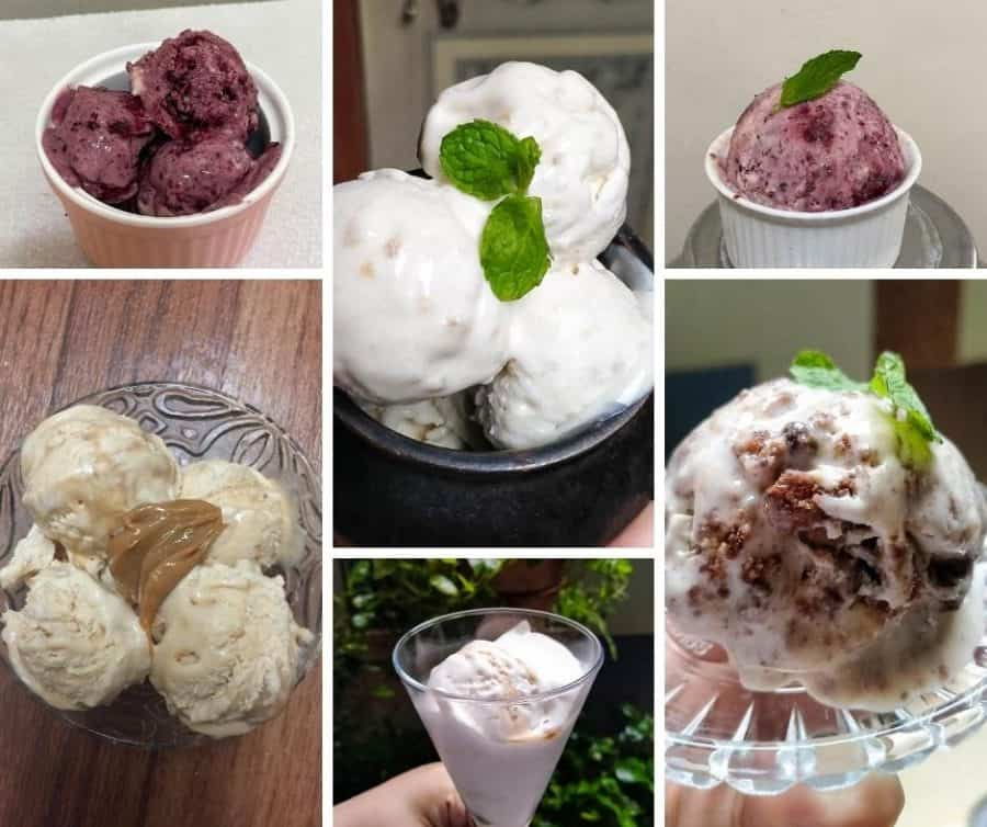 a collage of different ice creams.