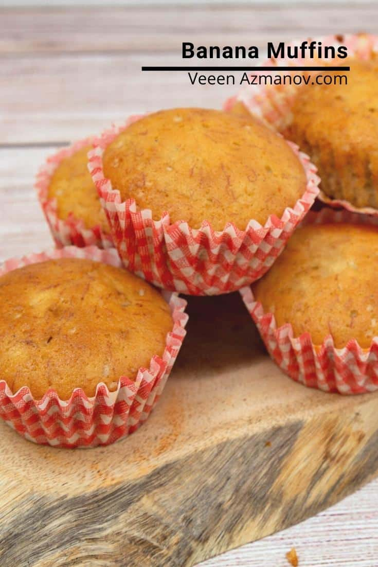 These are homemade banana muffins just like mom used to make. These are soft, light, airy, and get done in less than 30 minutes. Perfect for breakfast in summer when bananas are in abundance #bananamuffins #muffins #banana #baked #breakfast #breakfastmuffins #howtomuffins  via @Veenaazmanov
