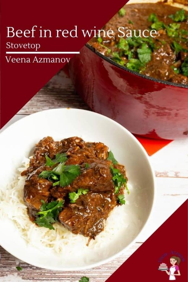 How to make beef stewed in a red wine gravy