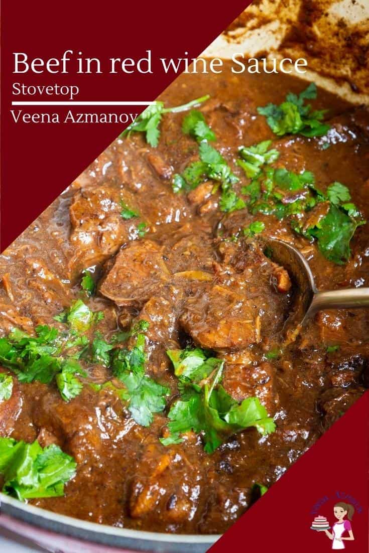 Fork-tender piece of beef cooked in a rich red wine gravy make this simple and easy recipe for beef in red wine the best dinner. Serve over steamed rice or mashed potatoes for a complete meal #beef #redwine #beefstew #beefrecipe #beefinredwine #beefdinner #beefslowcooked #slowcookedbeef #howtobeef  via @Veenaazmanov