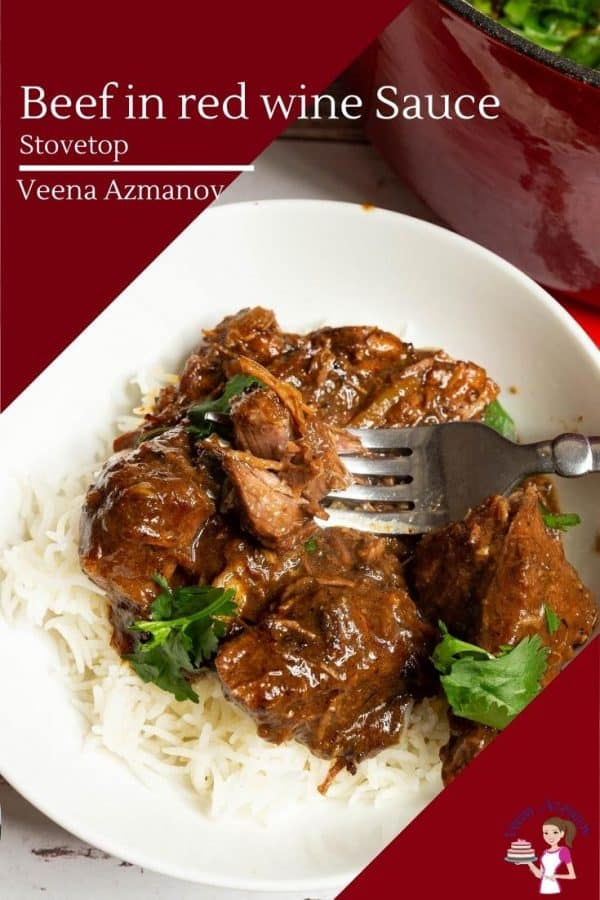 A bowl with beef in red wine gravy and white rice.