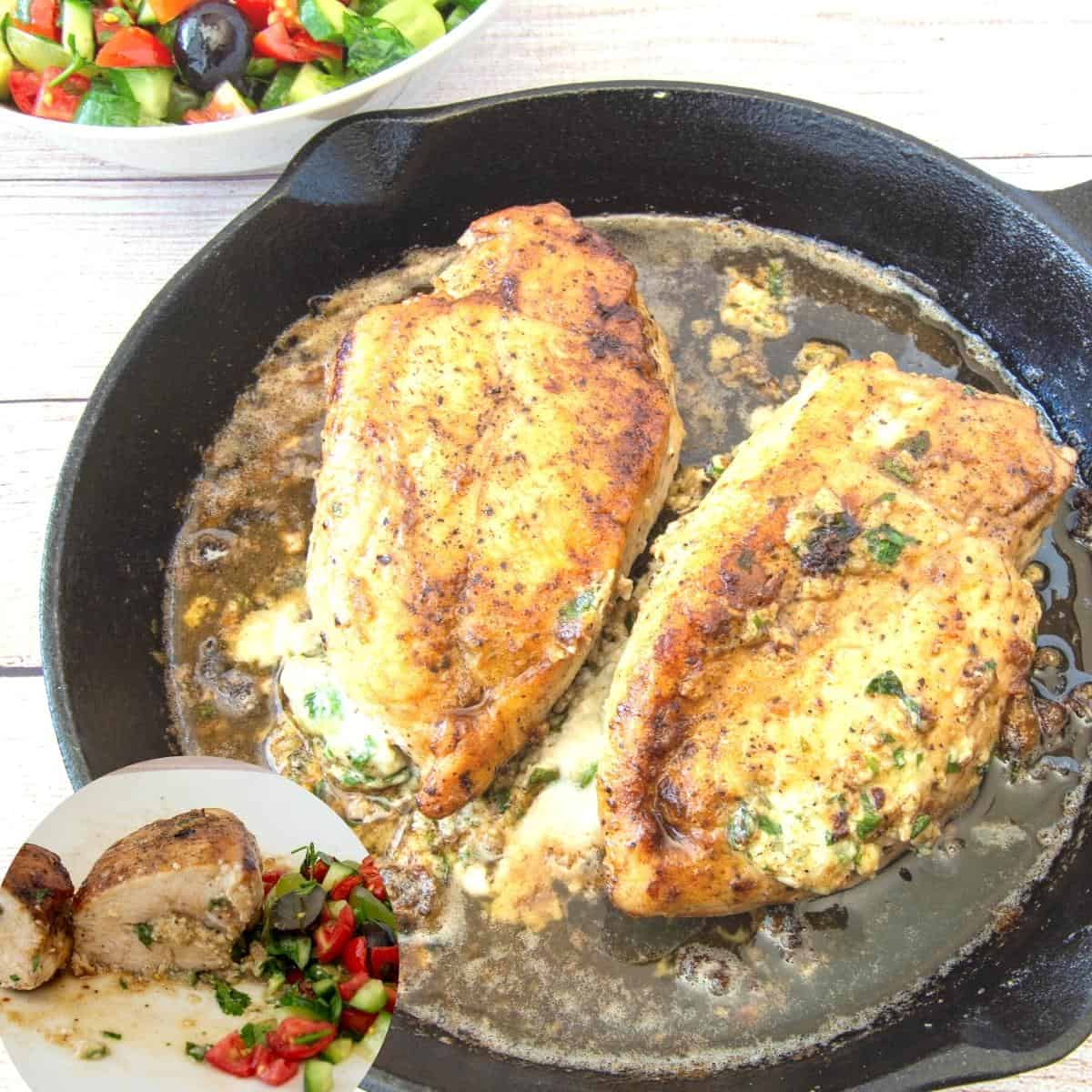 Stuffed chicken breasts in a frying pan.
