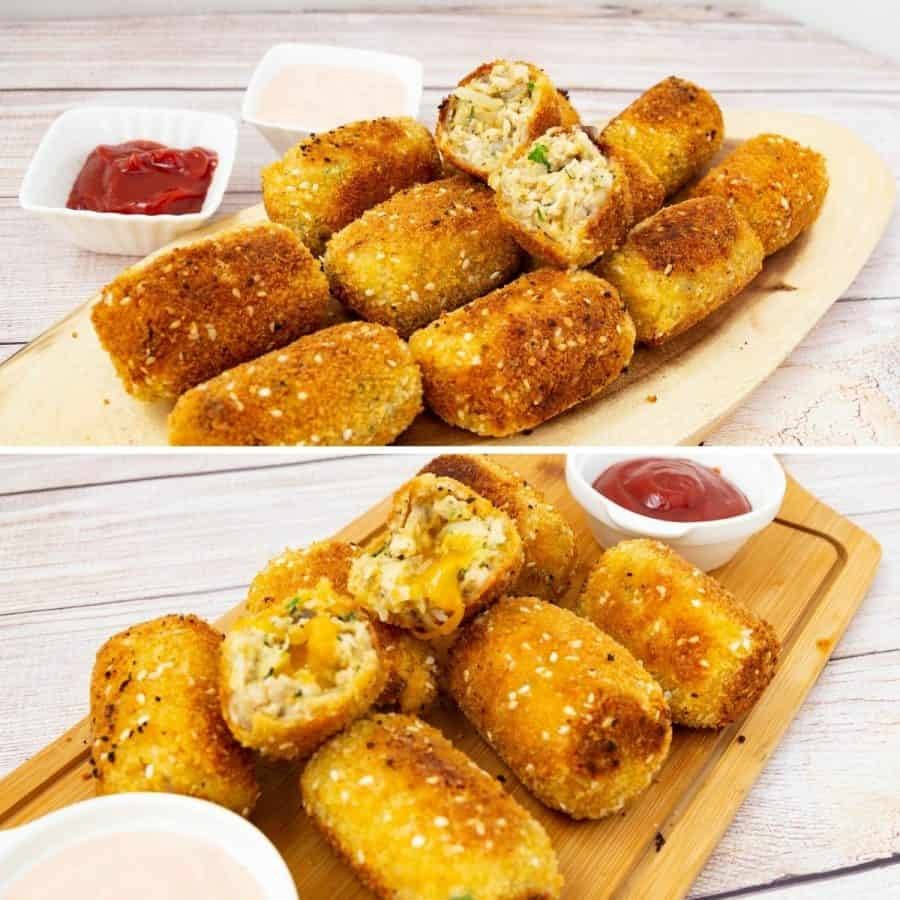 Chicken croquettes - plain and cheese stuffed on a wooden board
