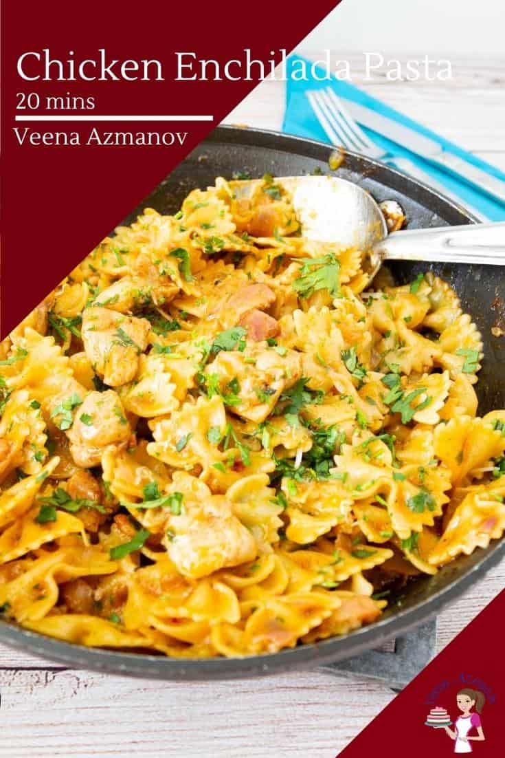 This chicken enchilada pasta is a quick and easy dinner in less than 20 minutes. I've used chicken, homemade enchilada sauce, pasta, and cheese but be creative with more additions like beans #enchilada #pasta #chicken #chickenenchiladapasta #enchiladapasta #chickenenchilada #20minmeals  via @Veenaazmanov