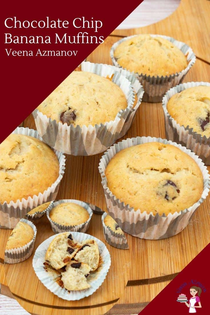 These homemade chocolate chip banana muffins are soft, light, airy, and get done in less than 30 minutes. Perfect when you have ripe bananas on hand that need to be used up #chocolatechip #bananamuffins #chocolatechipmuffins #chocolatechipbananamuffins #muffins #banana #chocolatechips #bananachocolate #bananachocolatechips #muffinrecipes #oilmuffins #bananadesserts via @Veenaazmanov