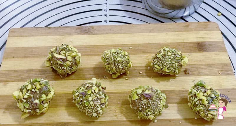 Roll the chocolate pistachio cookie dough into balls