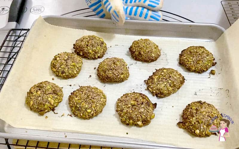 Bake the chocolate pistachio cookies for 9 to 10 mins