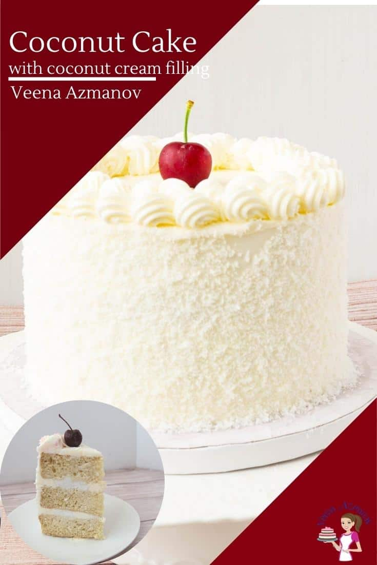 This light, airy, yet moist coconut cake is loaded with the goodness of coconut. It uses desiccated coconut and coconut cream in the cake as well as in the filling before being frosted with delicious Swiss meringue buttercream #coconutcake #cake #coconutcakerecipe #cakerecipe #layercakes #howtocake #coconutcreamcake #dessicatedcoconutcake #howtococonut #recipewithcoconut via @Veenaazmanov