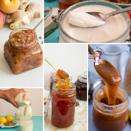 A collection of condiments recipes from jams jellies, sauces, syrups, and chutneys