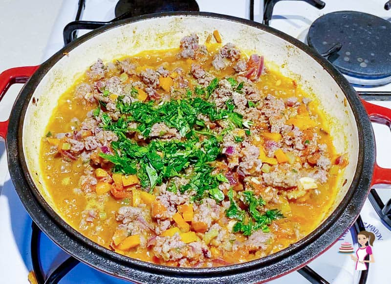 Add the parsley and herbs for the cottage pie