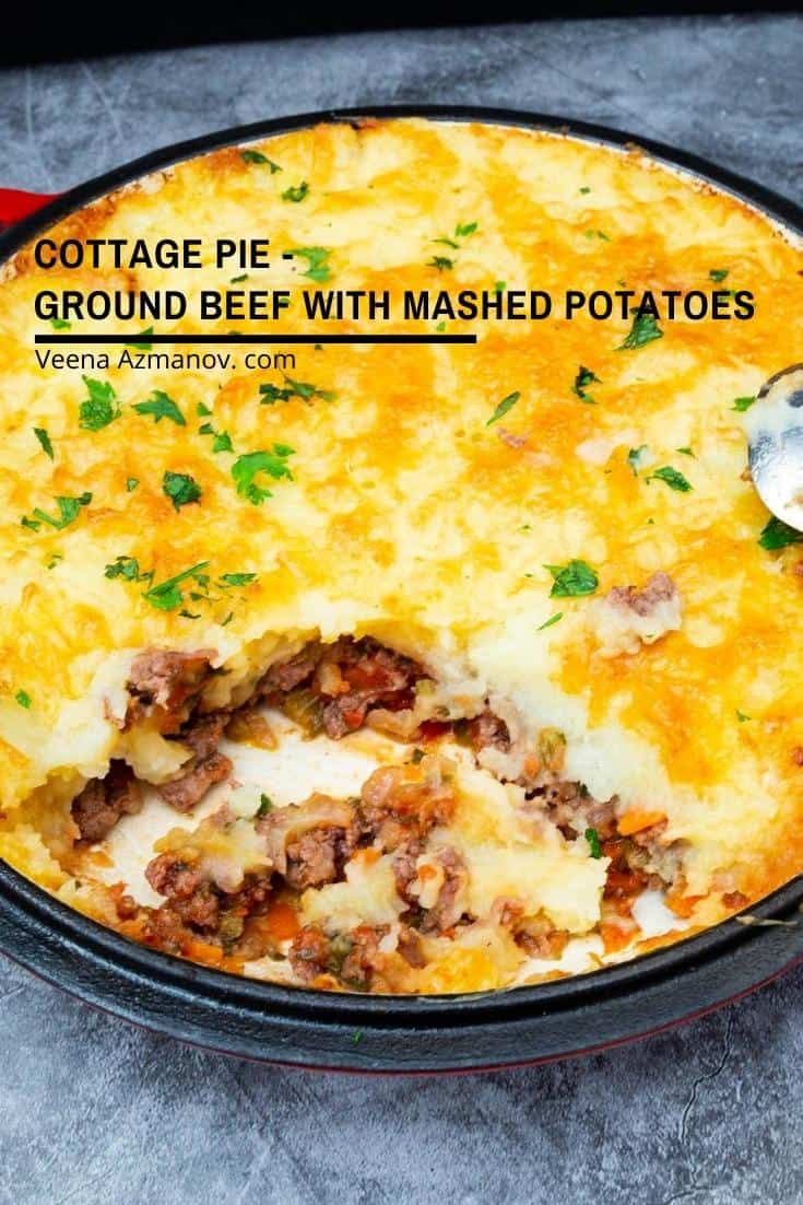 A pan of ground beef with mashed potatoes.