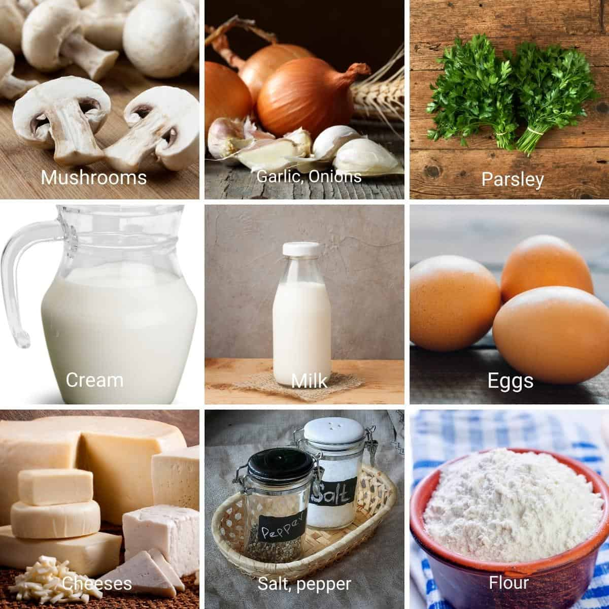 Ingredient shot collage for mushroom quiche crustless.