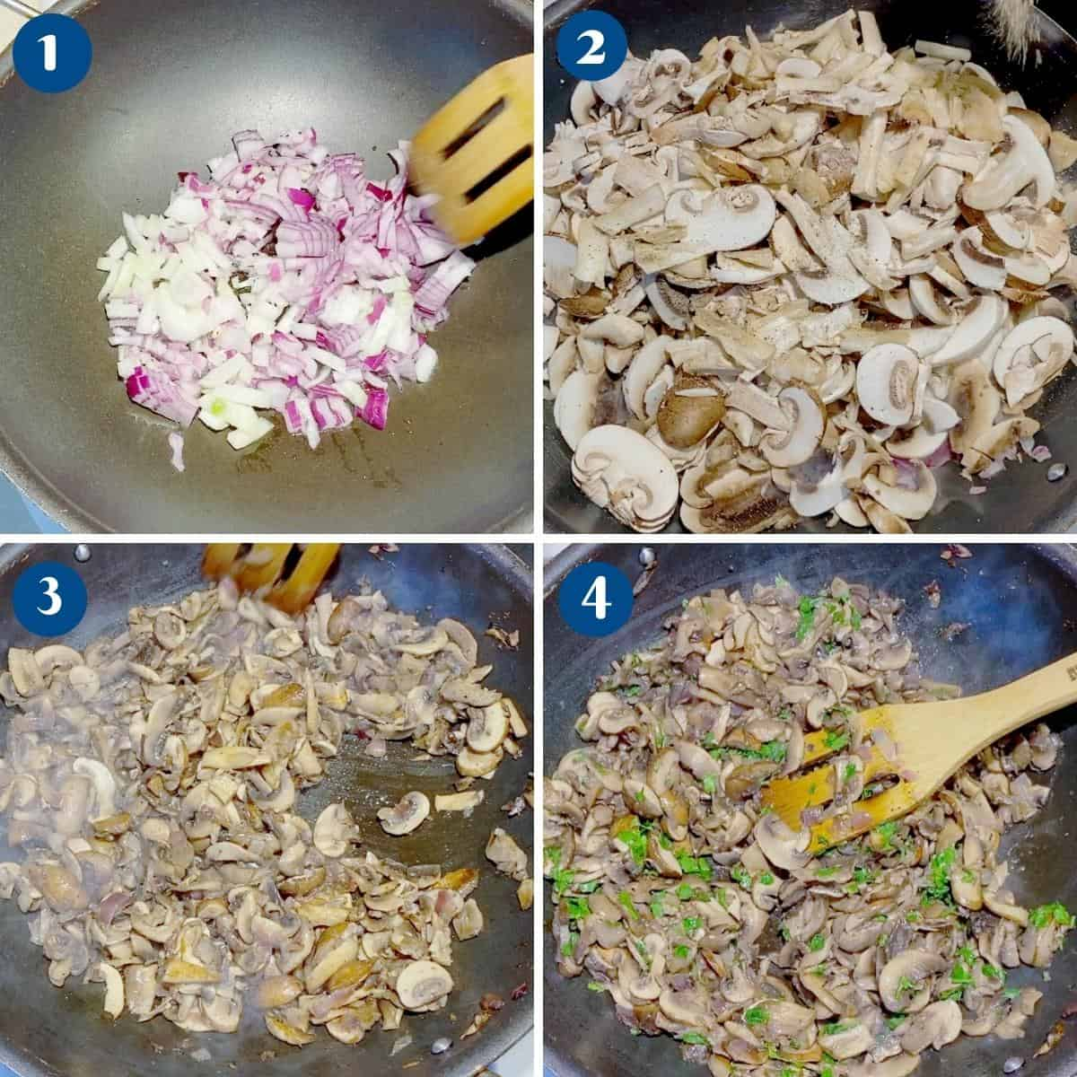 Progress pictures collage mushroom filling for quiche.