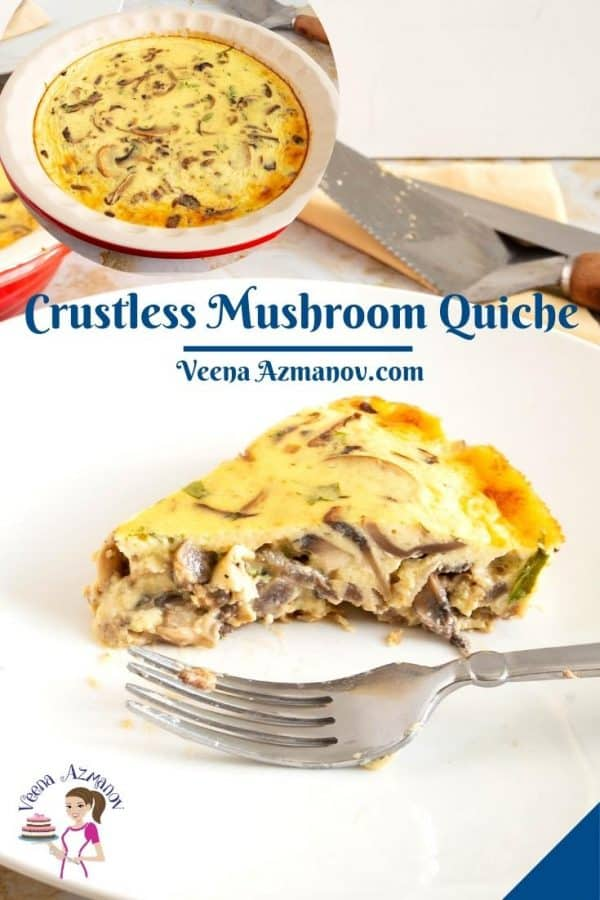 Pinterest image for quiche with mushrooms.