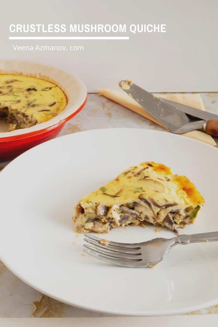 A slice of crustless mushroom quiche in a plate.