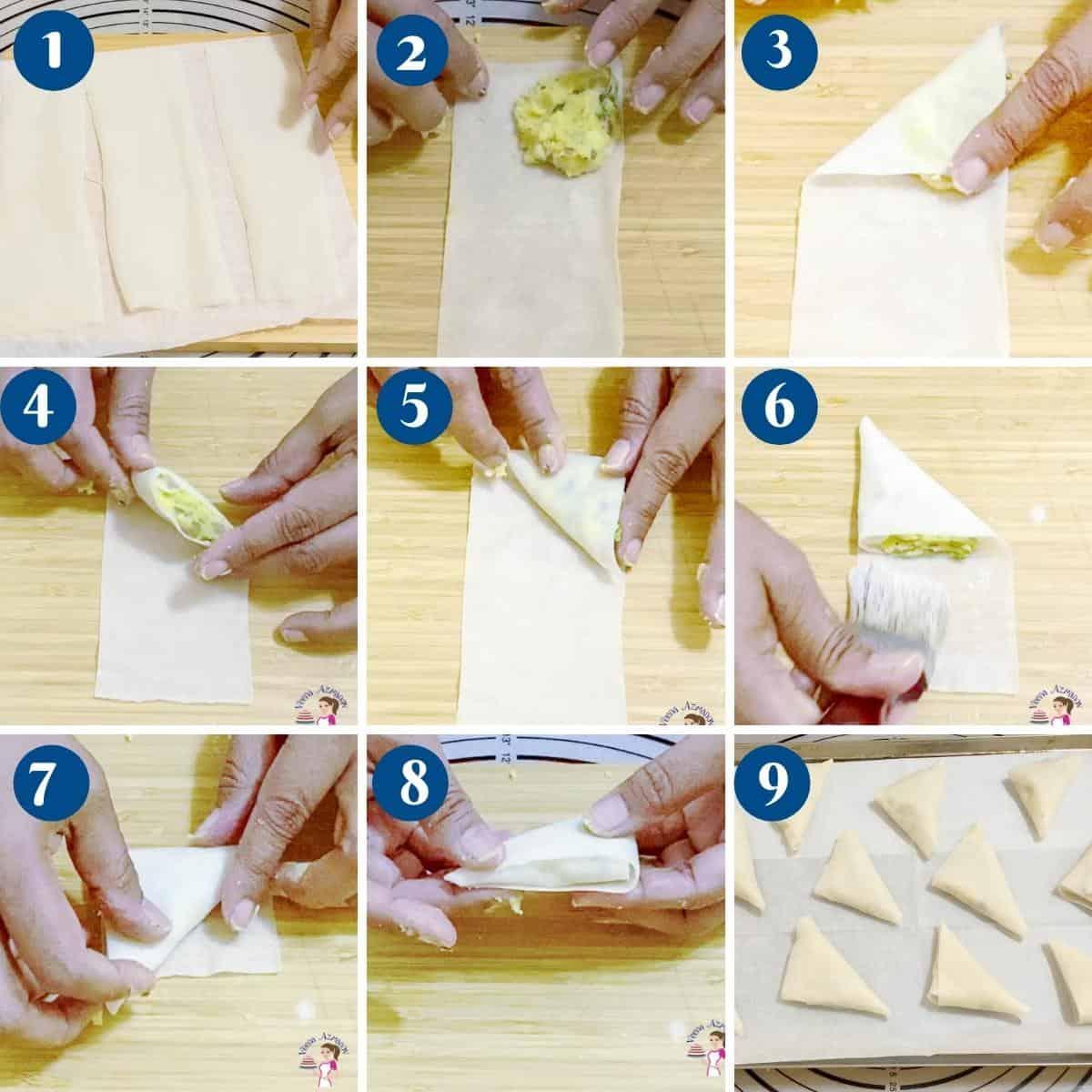 How to shape the classic samosa.