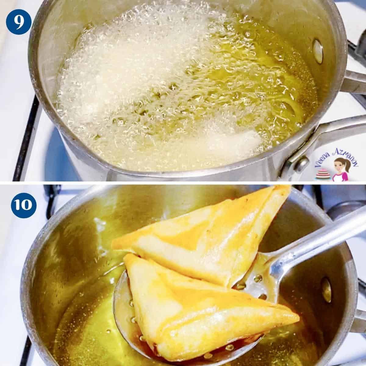 Progress pictures collage for deep frying spring roll samosas.