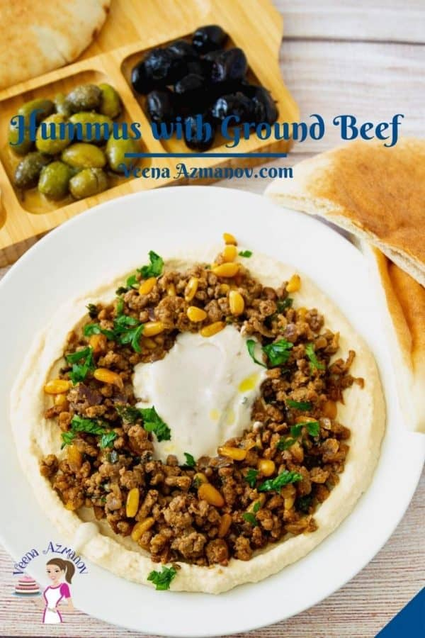 Pinterest image for hummus with meat.