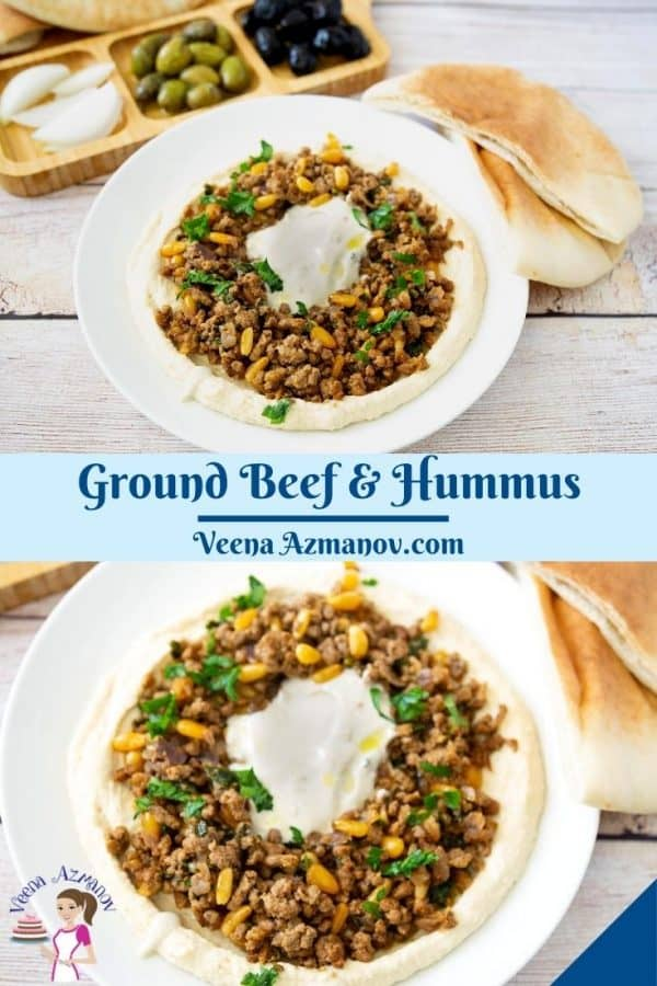 Pinterest image for hummus with ground beef.