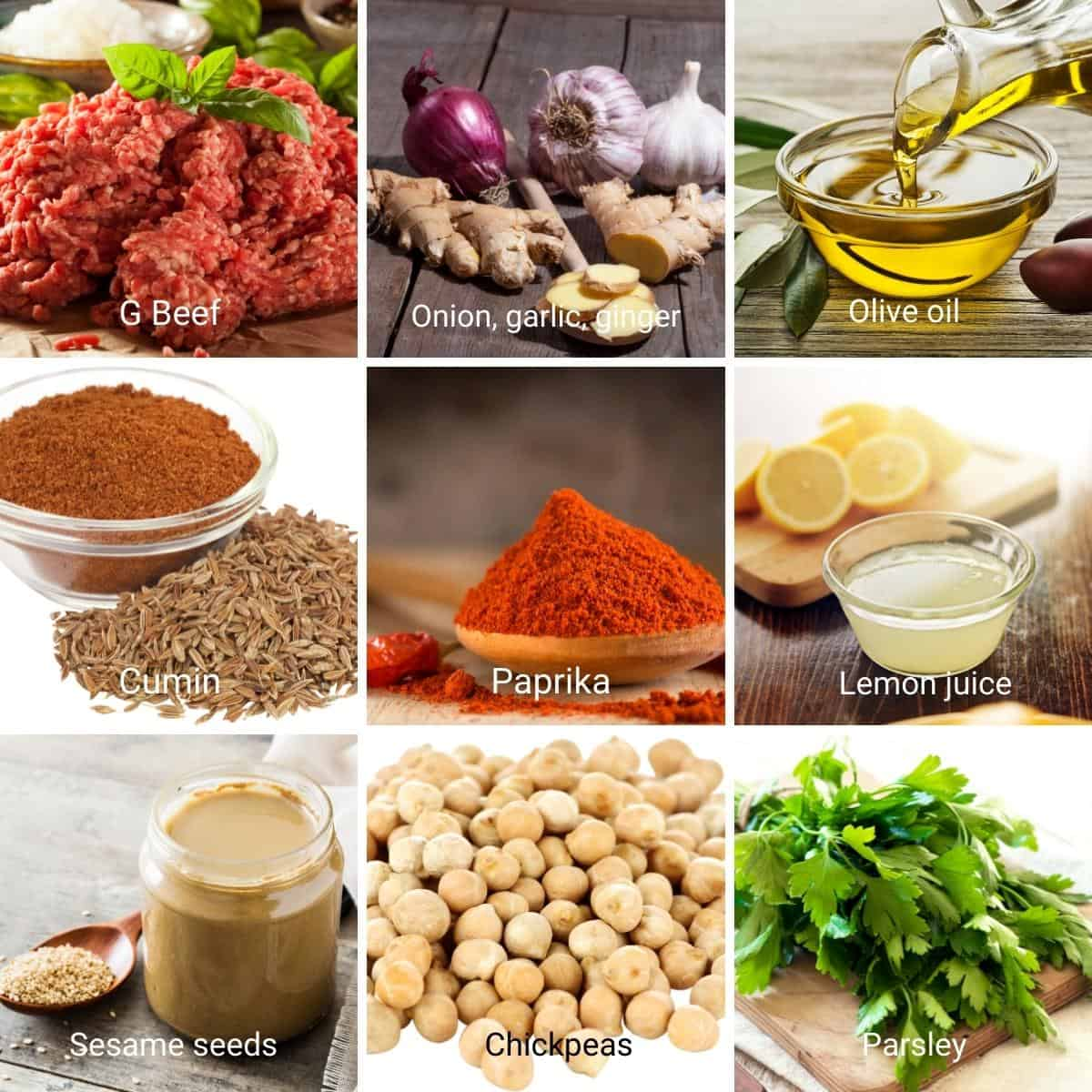 Ingredients for making hummus with meat.