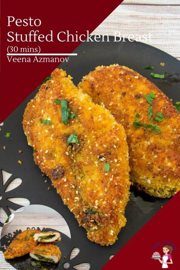 How to make breaded and stuffed chicken breast with homemade Pesto
