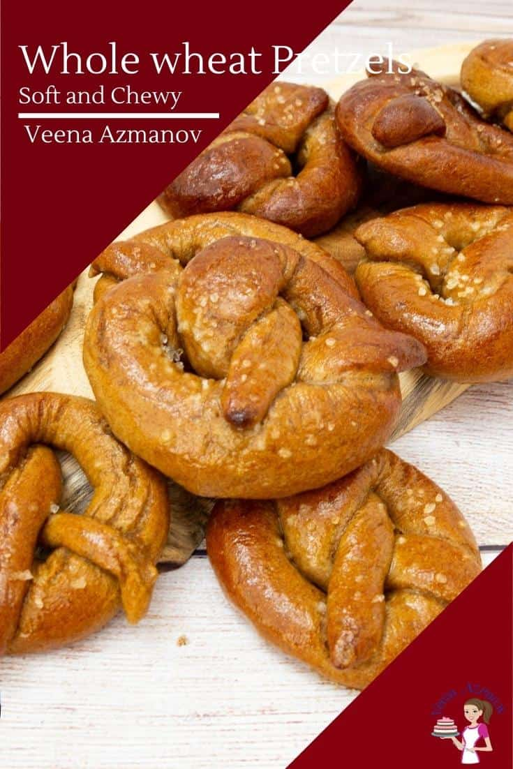 These whole wheat pretzels are the perfect snack brushed with melted butter and a sprinkle of sea salt. Made using my no-fail homemade pretzels recipe as a base these are soft, chewy, and absolutely delicious #pretzels #wholewheat #wholewheatpretzels #soft #chewy #softpretzels #wholewheatbread #bread #baking via @Veenaazmanov