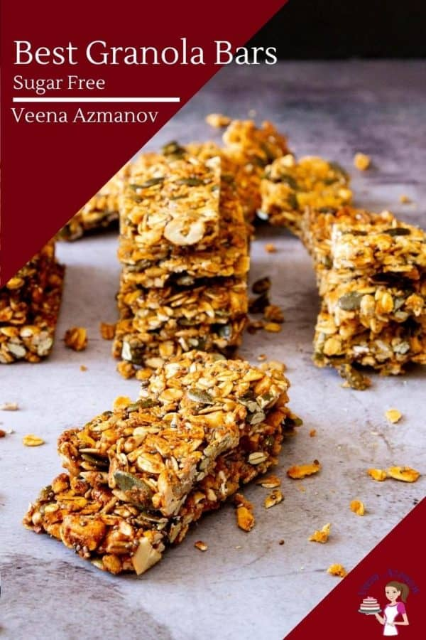 Homemade bars made with granola for breakfast or snack that are sugar free
