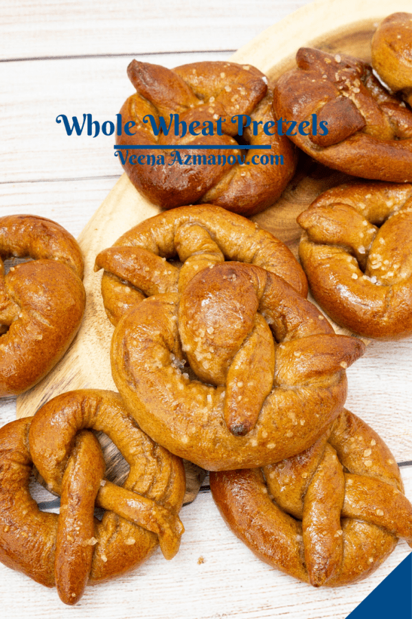 Pinterest image for Whole wheat pretzels
