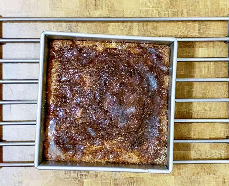 Bake the cake until a skewer