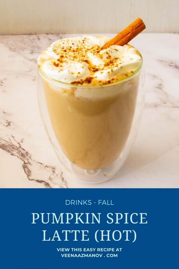 Pinterest image for pumpkin spice latte hot.
