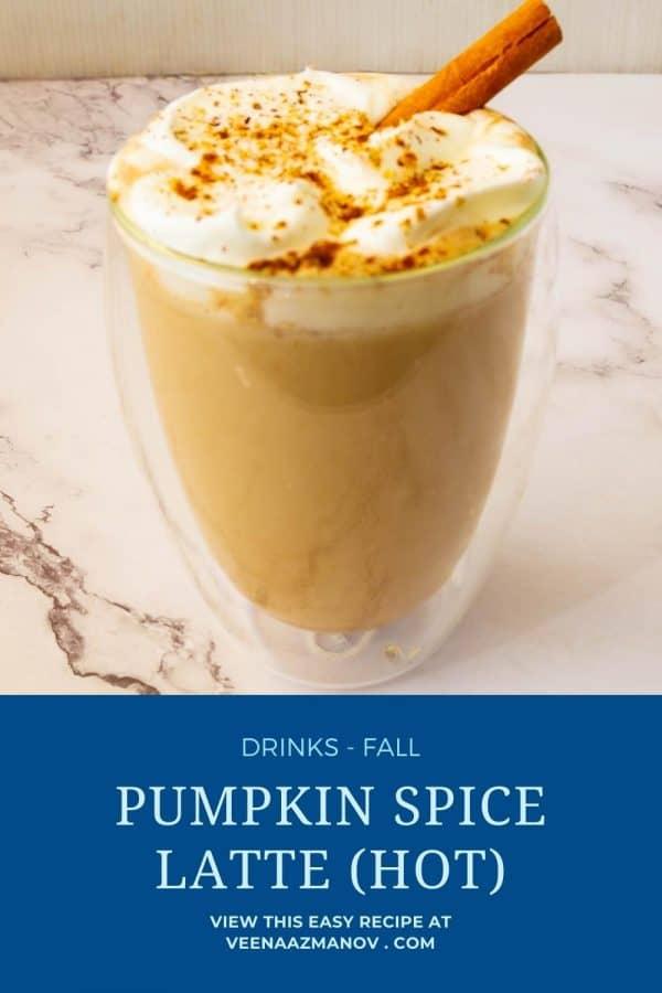 Pinterest image for hot spice latte.