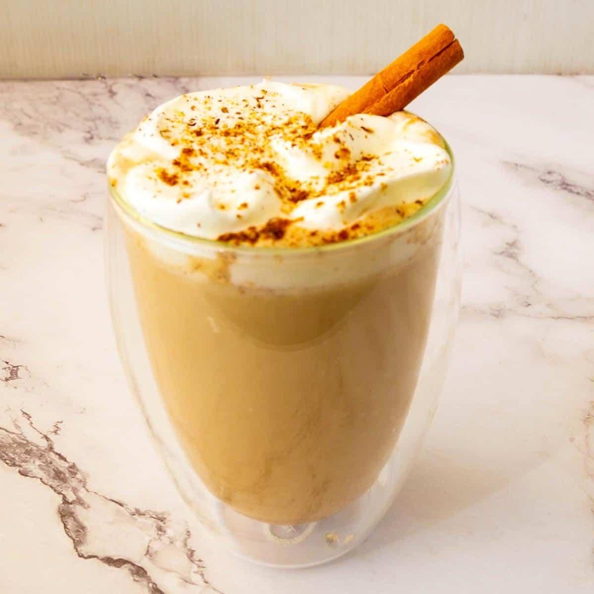Spice Latte in a glass.