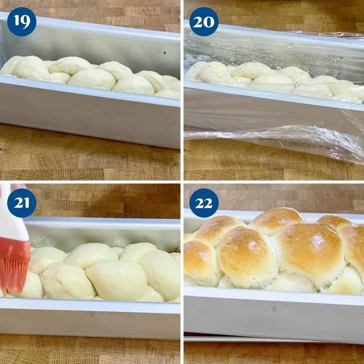 Progress picture collage for braided sandwich bread.
