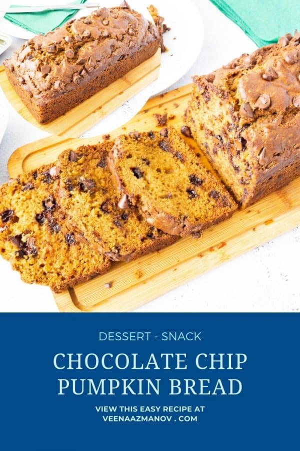 Pinterest image for pumpkin loaf bread.
