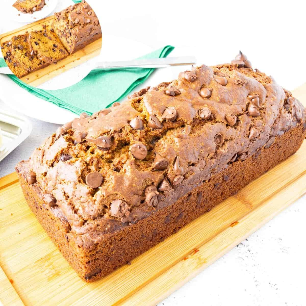 A pumpkin loaf with chocolate chips.