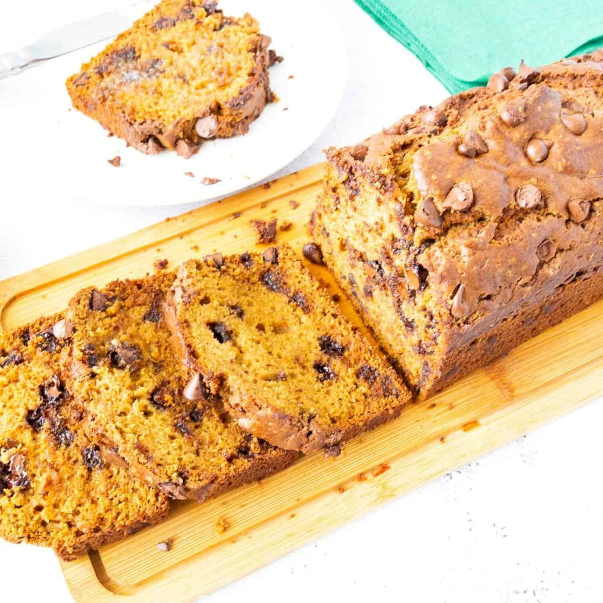 Slices of pumpkin bread with chocolate chips.