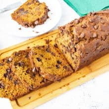 Sliced pumpkin loaf bread with chocolate chips.