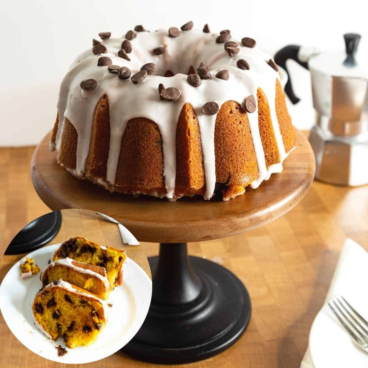 Chocolate chip pumpkin cake on a wooden cake stand