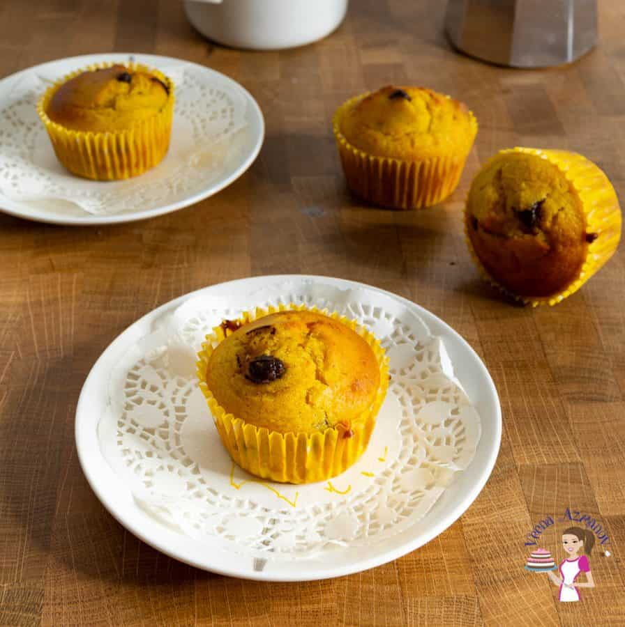 two plates with muffins