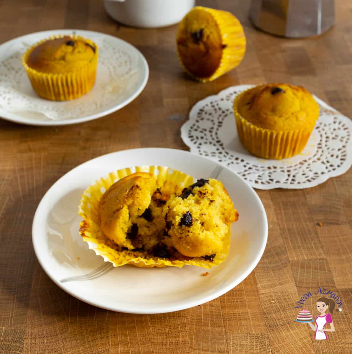 3 plates with chocolate chip muffins
