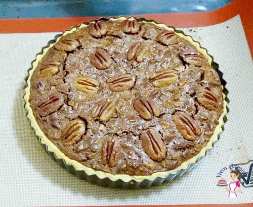 Bake the chocolate pecan pie for 60 minutes