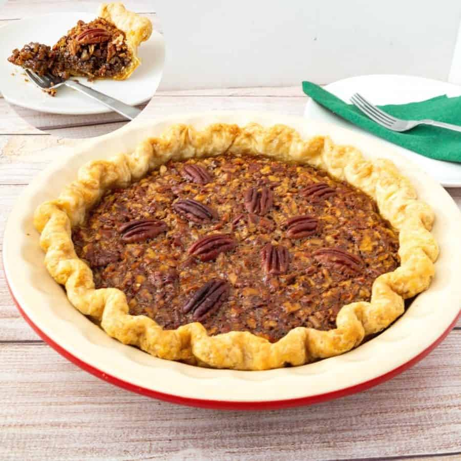 a classic pecan pie in a pie pan.