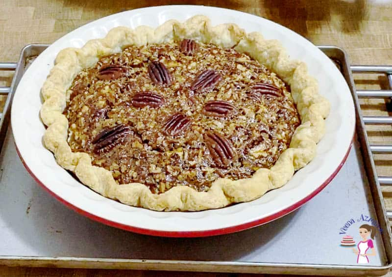 Bake the pecan pie until just set.