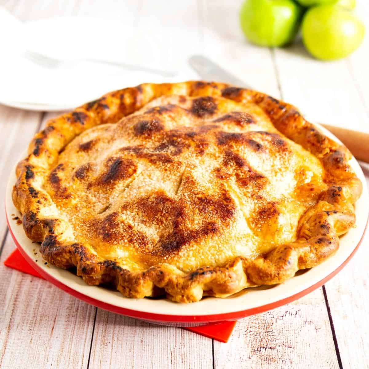 A baked double crust apple pie.