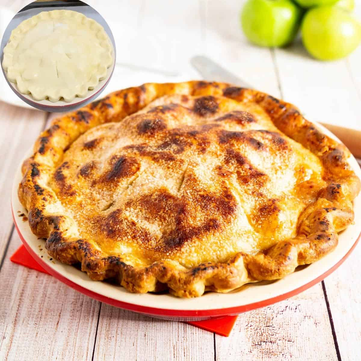 A pie with all butter double pie crust.