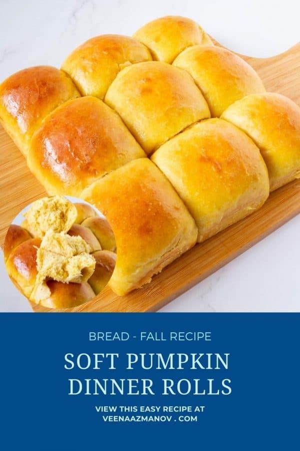 Pinterest image for pumpkin dinner rolls.